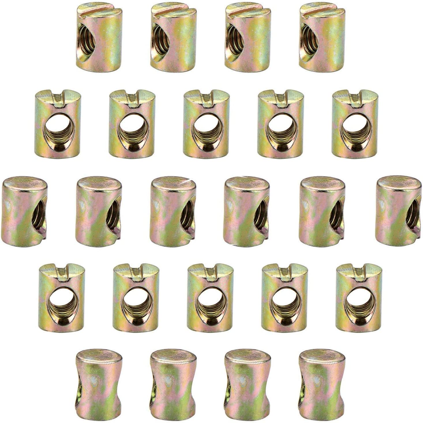M6 x 15mm Hilitchi 20-Pcs M6 Pozidriv Slotted Barrel Nuts Cross Dowels Slotted Nuts for Furniture Beds Crib Chairs