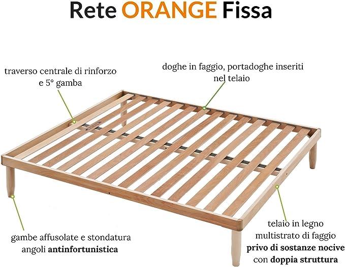Mod/èle Orange sommier Lit simple en bois naturel de h/être 85X195 haute 35 cm Orthop/édique et R/ésistant 5 pieds d/émontables EvergreenWeb id/éal pour tous les types de lits et matelas