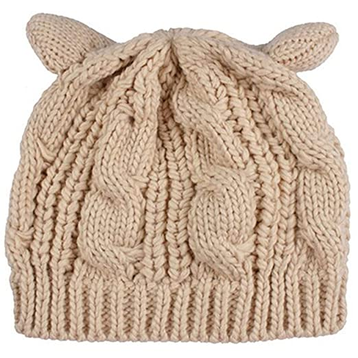 Hangton Fashion Cat Ear Pompom Ski Beanie Skull Cap Hat Female Vogue