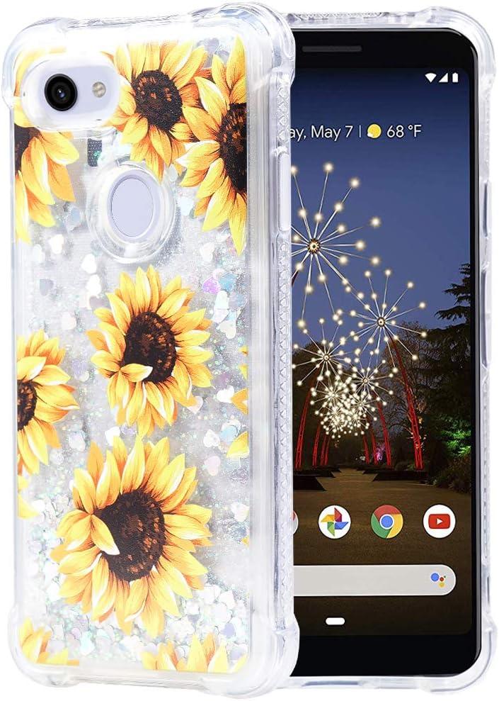 Flocute Pixel 3a Case, Google Pixel 3a Glitter Floral Case Flower Bling Sparkle Floating Liquid Soft TPU Cushion Luxury Fashion Girls Women Cute Case for Google Pixel 3a 2019 (Sunflower)