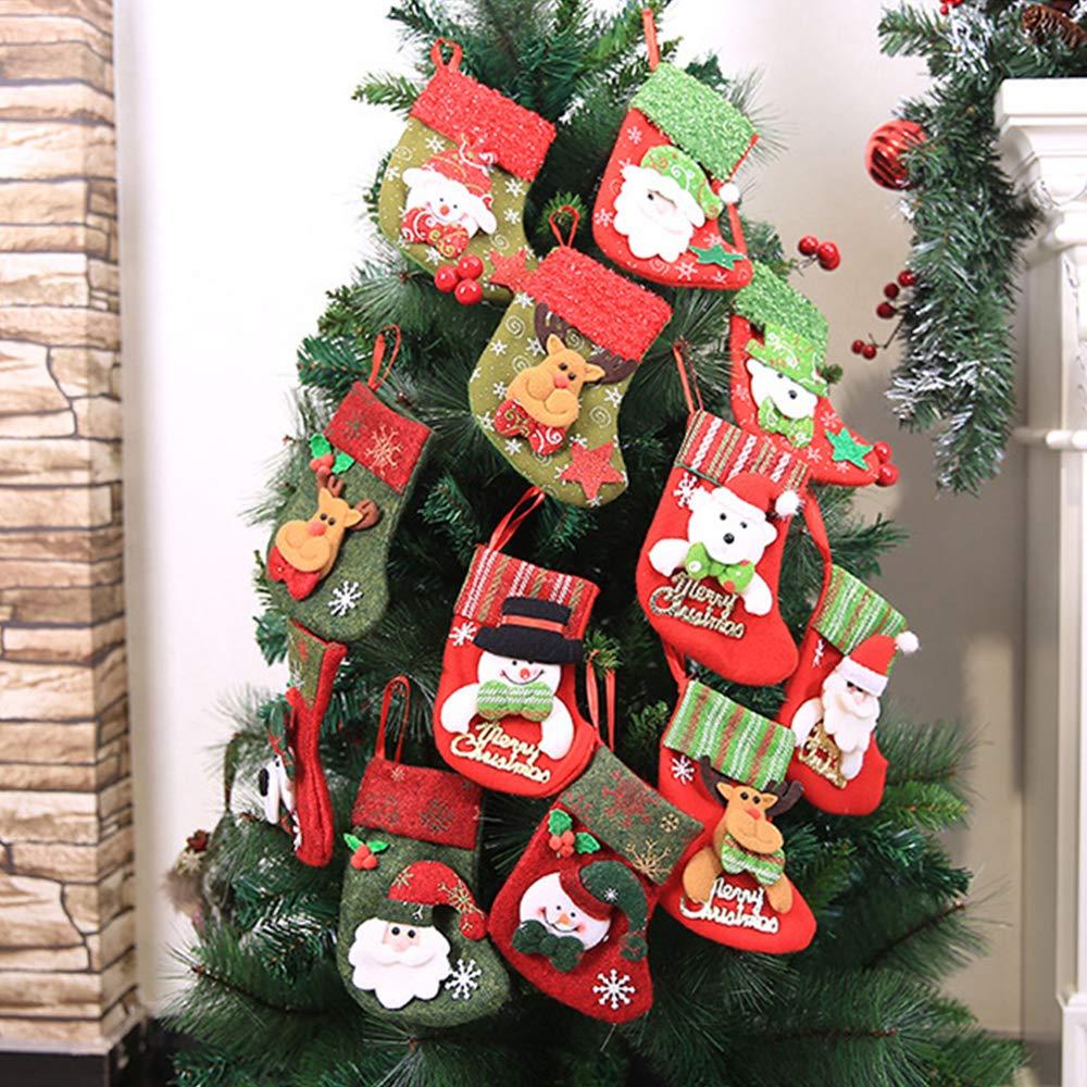 XinXu 4 Pack Mini Calcetines de Navidad para Regalo y Bolsa de Tratamiento, para Regalos y decoración: Amazon.es: Hogar