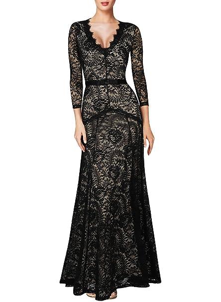 free shipping 822dd f8b12 MIUSOL Pizzo Lunghe Vestiti Vintage Donna Scollo a V Pizzo Vestito da Sera