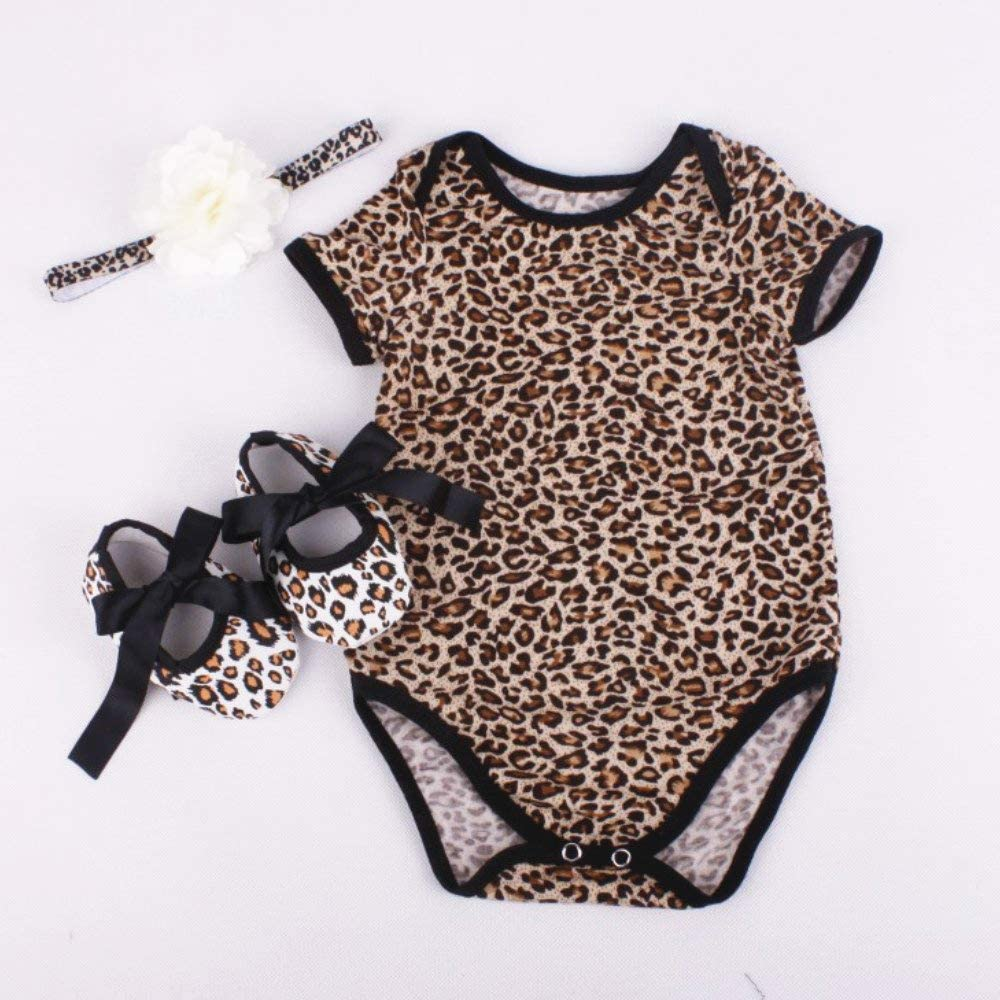 Medylove Reborn Baby Doll Clothes Leopard Grain Romper Outfit 3pcs for 20-23 Inch Reborn Newborn Babies Matching Clothing