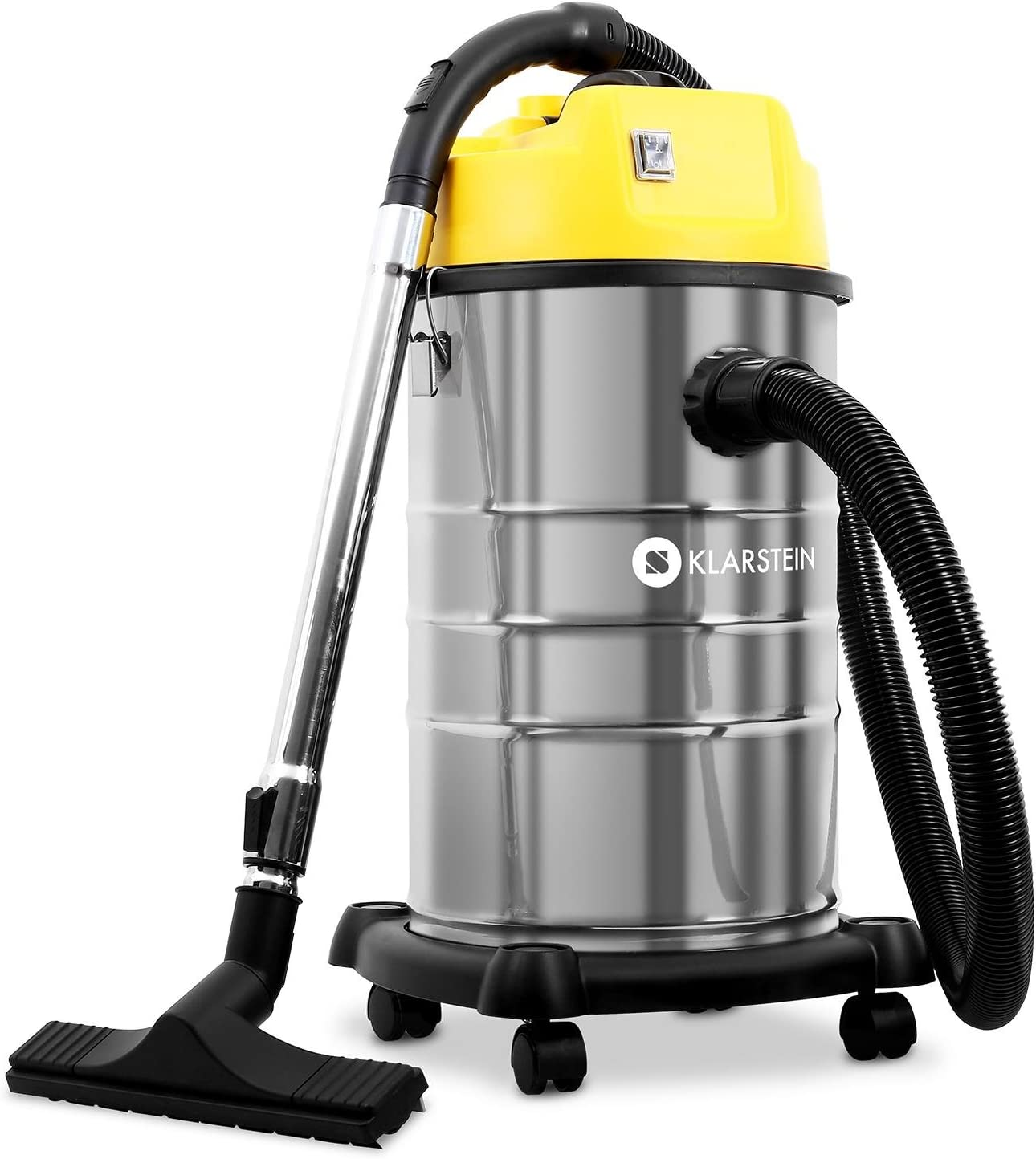 Klarstein IVC 30 Wet & Dry Vacuum Cleaner 30 l, 1800W, Double Wheel Motor, Bagless, 8 m Cable, Stainless Steel Tank, Blowing Function, Integrated