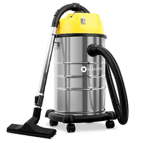 Klarstein IVC-30 • aspirateur Industriel • Eau • poussières • 1800 W • IP X4 • 2 Moteurs • cuve 30 l INOX • verrouillages Rapides • Double Filtre • souffleur • Base en Plastique • Argent-Jaune