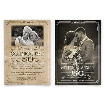 20 X Hochzeitseinladungen Goldhochzeit Goldene Hochzeit