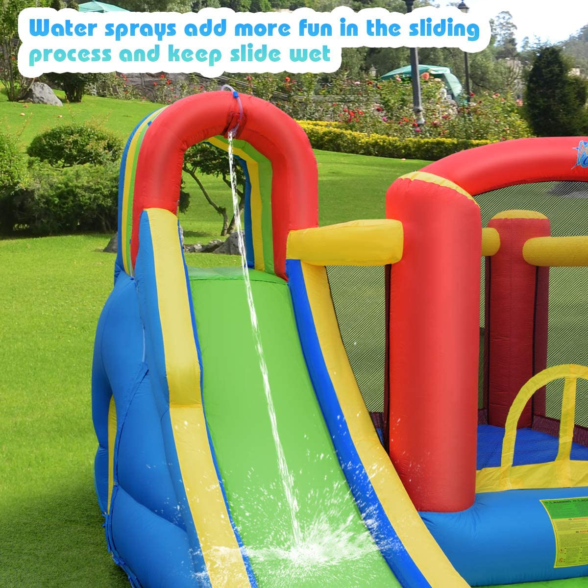 Splash Pool Including Carry Bag Repair Kit Stakes Hose Ocean Balls Without Blower 9 in 1 Jump Bounce House w// Long Slide Climbing Wall Tunnel BOUNTECH Inflatable Water Slide Water Cannon
