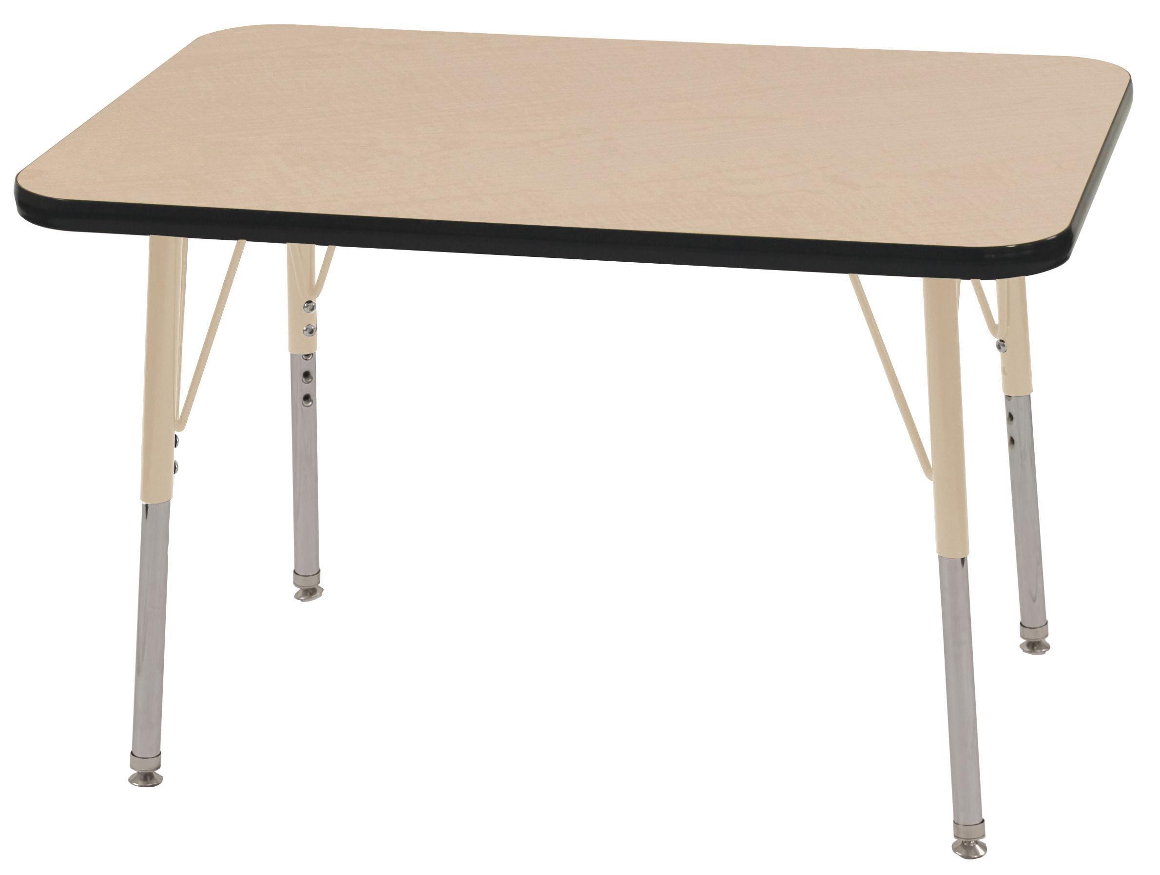 ECR4Kids T-Mold 24'' x 36'' Rectangular Activity School Table, Standard Legs w/ Swivel Glides, Adjustable Height 19-30 inch (Maple/Black/Sand)