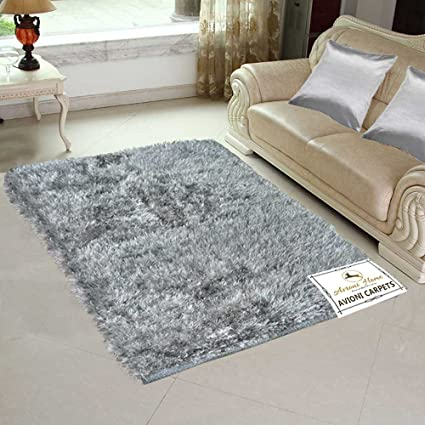 Avioni Polyester Blend Handloom Rugs, 4x6ft (Grey)
