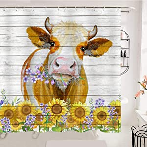 OCCIGANT Watercolor Cow Bathroom Shower Curtain Funny Cute Buffalo Sunflower Purple Flower Wooden Door Panel Farmhouse Cabin Style Waterproof Polyester Fabric Decor Set with Hooks