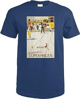 product image for Denmark, Wonderful Copenhagen, (artist: Vagnby c. 1961), Vintage Advertisement 61109 (Navy Blue T-Shirt X-Large)