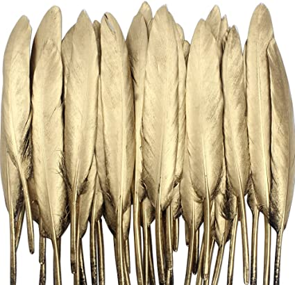 Wedding and Party Dress-ups 4-6 Birthday Parties for Various Crafts Coceca 55PCS Gold Feathers