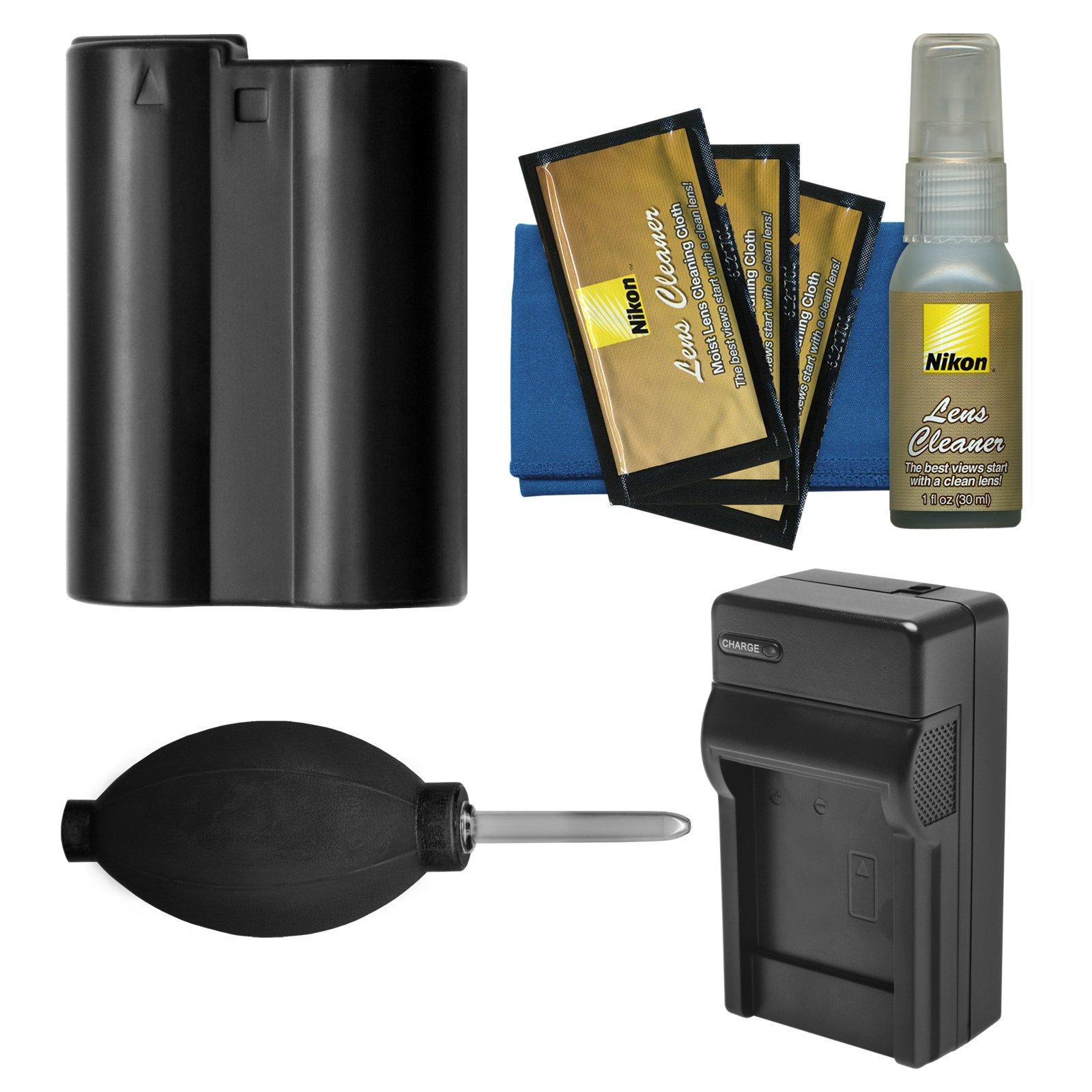 Essentials Bundle for Nikon D7200, D7500, D500, D610, D750, D810, D850 Camera with EN-EL15 Battery & Charger + Cleaning Kit