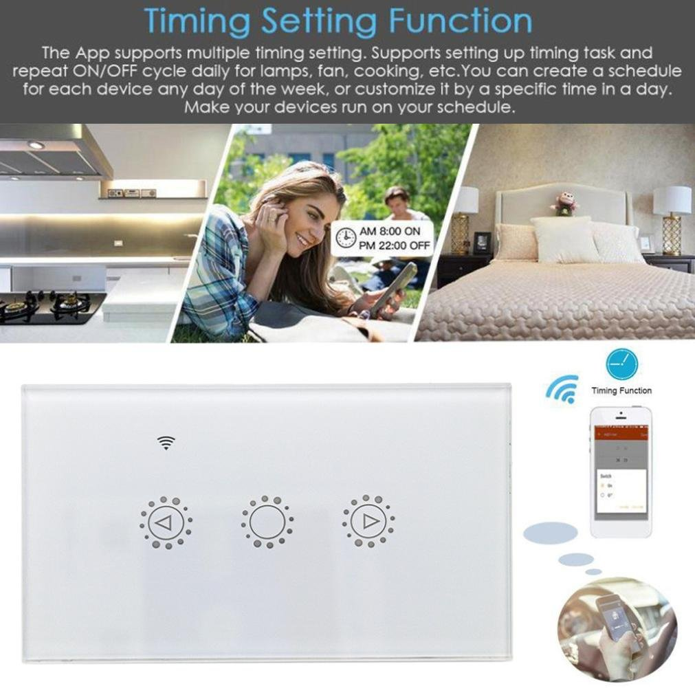 Switch Capacitive Hand Switch Wireless Remote Control Glass 3-gang Smart Home AU/US Crystal Waterproof Glass Touch Screen Light Switch&Mini Remote (White) by Liu Nian (Image #5)