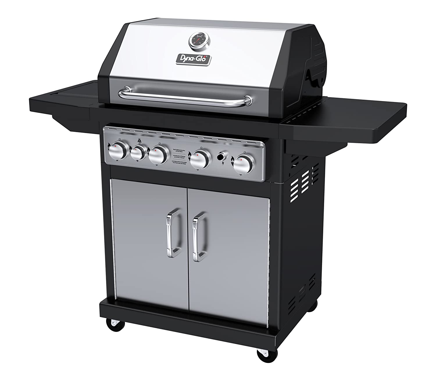 Dyna-Glo Black & Stainless Premium Grills, 4 Burner, Liquid Propane Gas