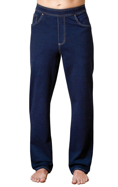 PajamaJeans Men's Straight Leg Knit Denim Jeans in Dark Blue Indigo