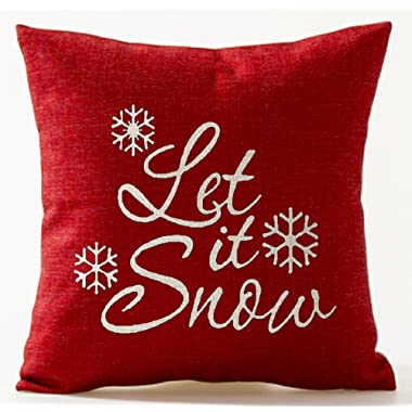 Andreannie Happy Winter Let It Snow Various Beautiful Snowflakes in Red Merry New Home Room Decorative Cotton Linen Throw Pillow Case Cushion Cover Square 18 X 18 Inches