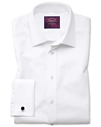 38fd66a4475 Slim Fit Luxury Marcella Bib Front White Evening Egyptian Cotton Formal Shirt  Double Cuff by Charles Tyrwhitt  Amazon.co.uk  Clothing