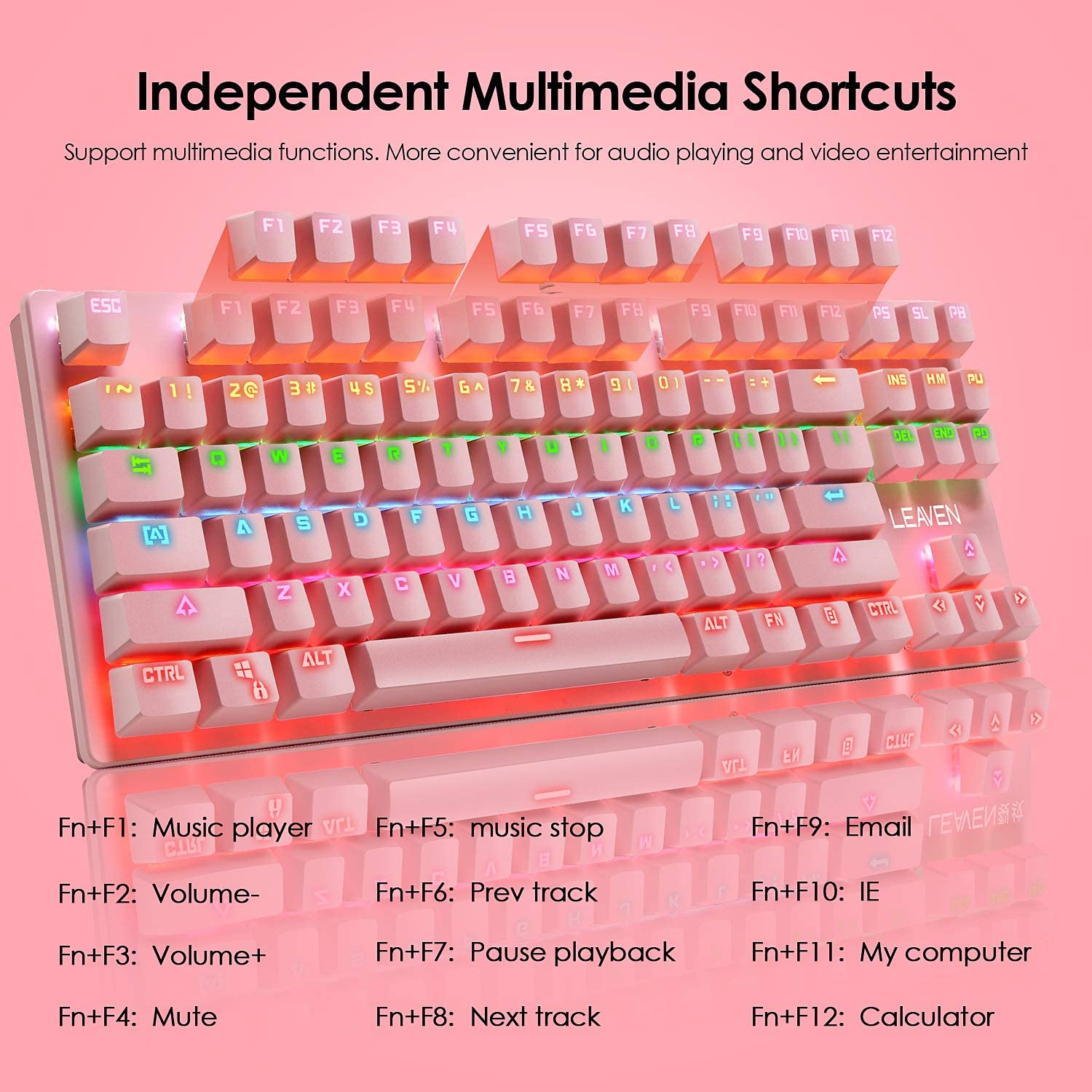 Blue Switch Wired Pink Keyboard 87 Keys Full Anti-ghosting Mice Pad Set RGB Backlit Mechanical Gaming Keyboard Programmable 6400DPI Ultra-Light Honeycomb Coal Wired Game Mouse for Game or work