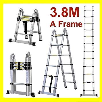 Escalera telescópica multiusos plegable de aluminio de 3,8 m (1,9 m + 1,9 m) – una extensión de marco 12 pasos: Amazon.es: Bricolaje y herramientas