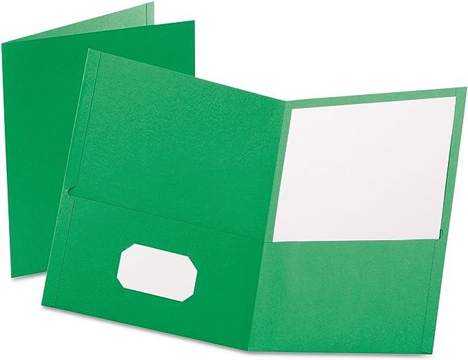 Oxford Twin-Pocket Folder Embossed Leather Grain Paper Light Green 25//Box 57503