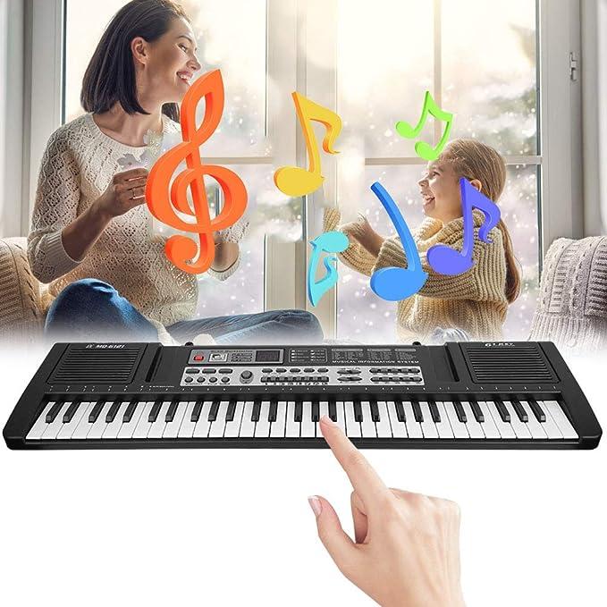 Teclado de Piano ara Principiantes de 61 Teclas, óRgano ElectróNico, Teclado de Piano Digital PortáTil Para NiñOs de 61 Teclas con MicróFono, Juguete ...