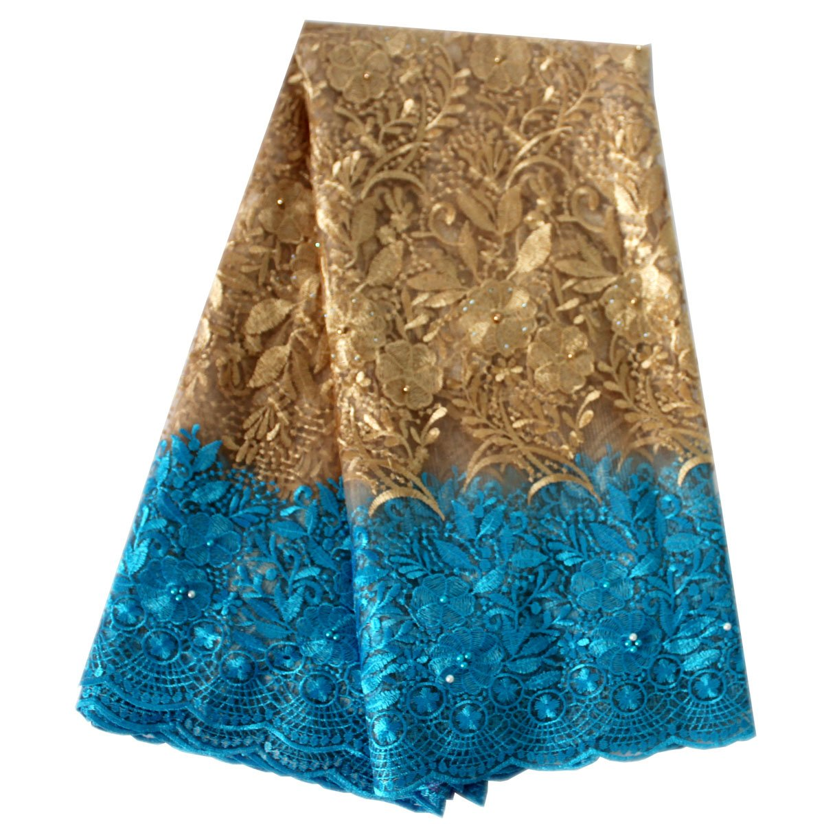 Lacerain 5 Yards African Lace Fabric Embroidered Lace Fabric African Embroidery Material Wedding Dress Shirt Skirt (Blue and Yellow)