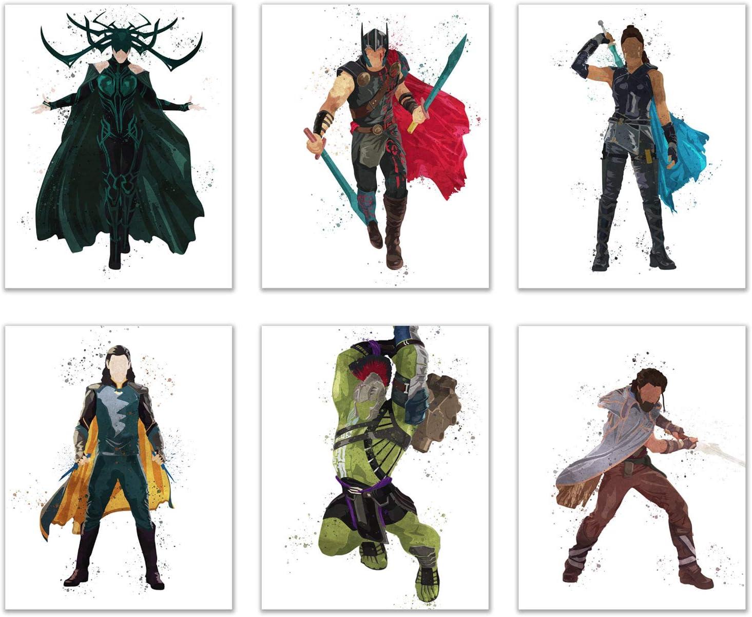 Watercolor Thor: Ragnarok Prints - Set of 6 (8x10) Glossy Comic Wall Art Decor - Thor - Hela - Hulk - Valkyrie - Loki - Heimdall