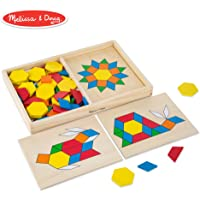 Melissa & Doug Pattern Blocks & Boards Classic Toy (120 Shapes & 5 Boards, Frustration-Free Packaging)