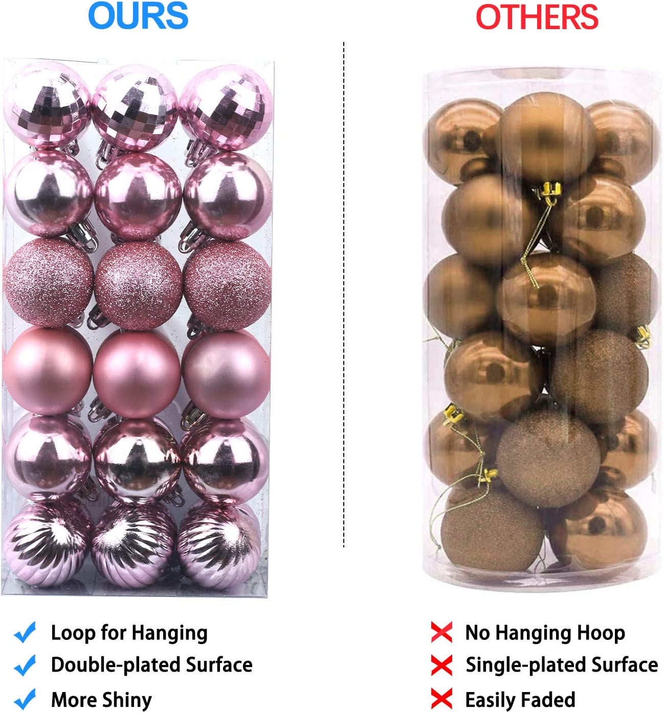 AHIKIDS Christmas Balls Ornaments for Xmas Tree 36ct Shatterproof Christmas Decorations Tree Ball Holiday Wedding Party Decoration Perfect Hanging 1.6 Set