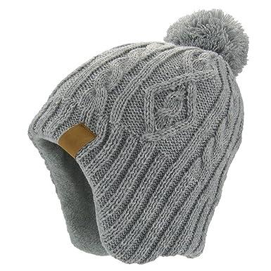 b01d053ae7212 LittleSpring 耳あて ニット 帽子 ポンポン付き 防寒 防風 あったか ニットキャップ キッズ用ハット ニット