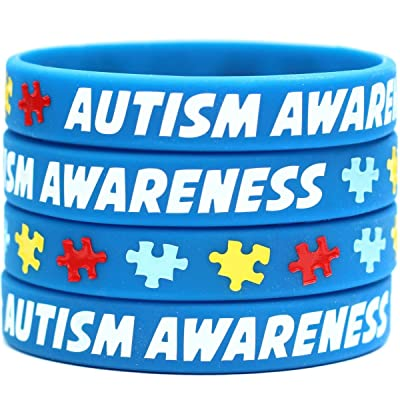 100 Autism Wristbands - Puzzle Piece Bracelets - Adult and Child Sizes Available