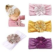 DANMY Baby Girl Nylon Headbands Newborn Infant Toddler Hairbands and Bow
