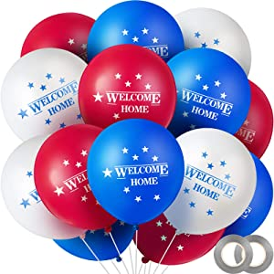 60 Pieces Welcome Home Balloons Patriotic Latex Balloons Colorful American Star Balloons Round Patriotic Welcome Balloons with 2 Rolls Ribbons for Welcoming Party, Homecoming Event, Troop Reunion