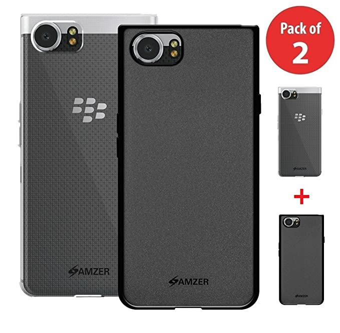 newest 45009 d73d5 BlackBerry KEYone Case, Premium Shockproof TPU Case [Pack of 2] Soft Gel  Back Cover for BlackBerry KEYone - Cloudy Clear, Black, Pack of 2, Raised  ...