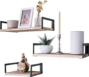 Premium Home Wood Floating Shelves Wall Mounted; Wall Shelf Set of 3, Bathroom Shelves for Wall Shelving,Bedroom,Living Room,Kitchen,Bookshelves,Decorative Trophy Display,Industrial décor