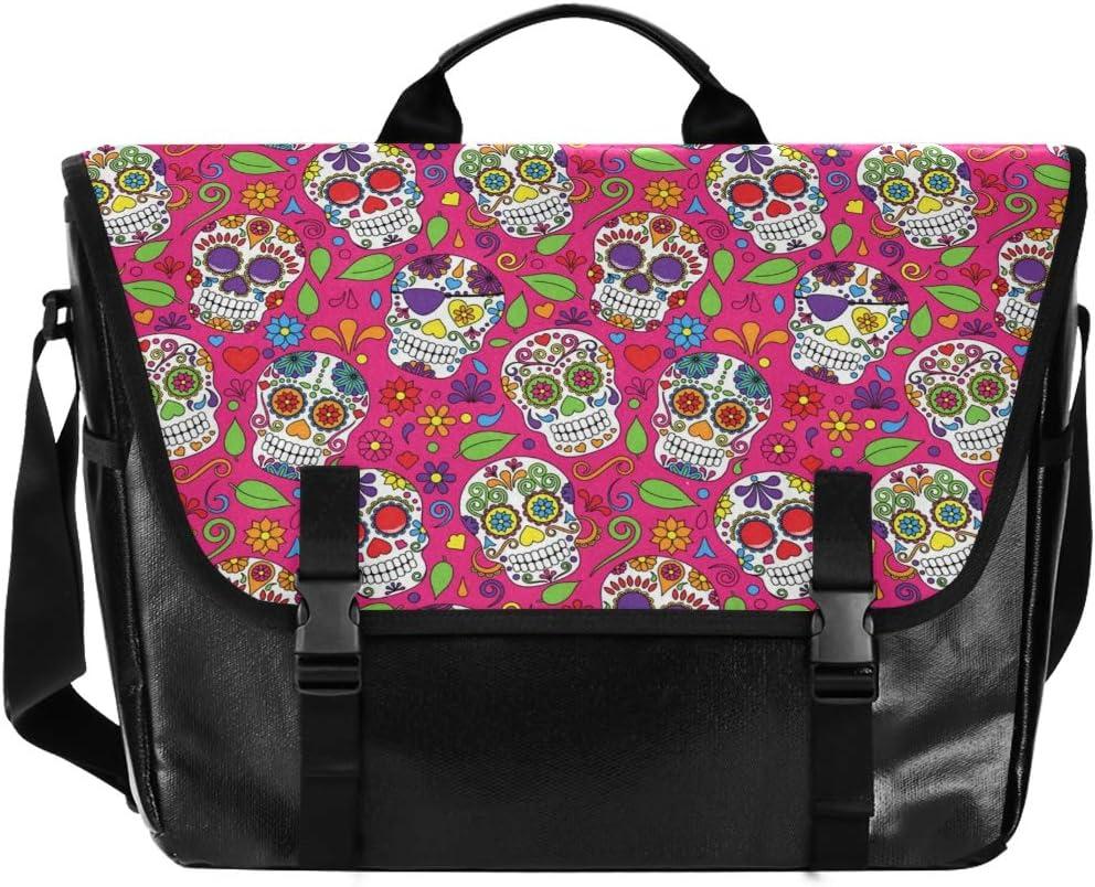 Traveling Camping Laptop Computer for Men Women Student Messenger Bag Casual Canvas Satchel Hipster Pink Floral Skull Colorful Flower Shoulder Bag Navy