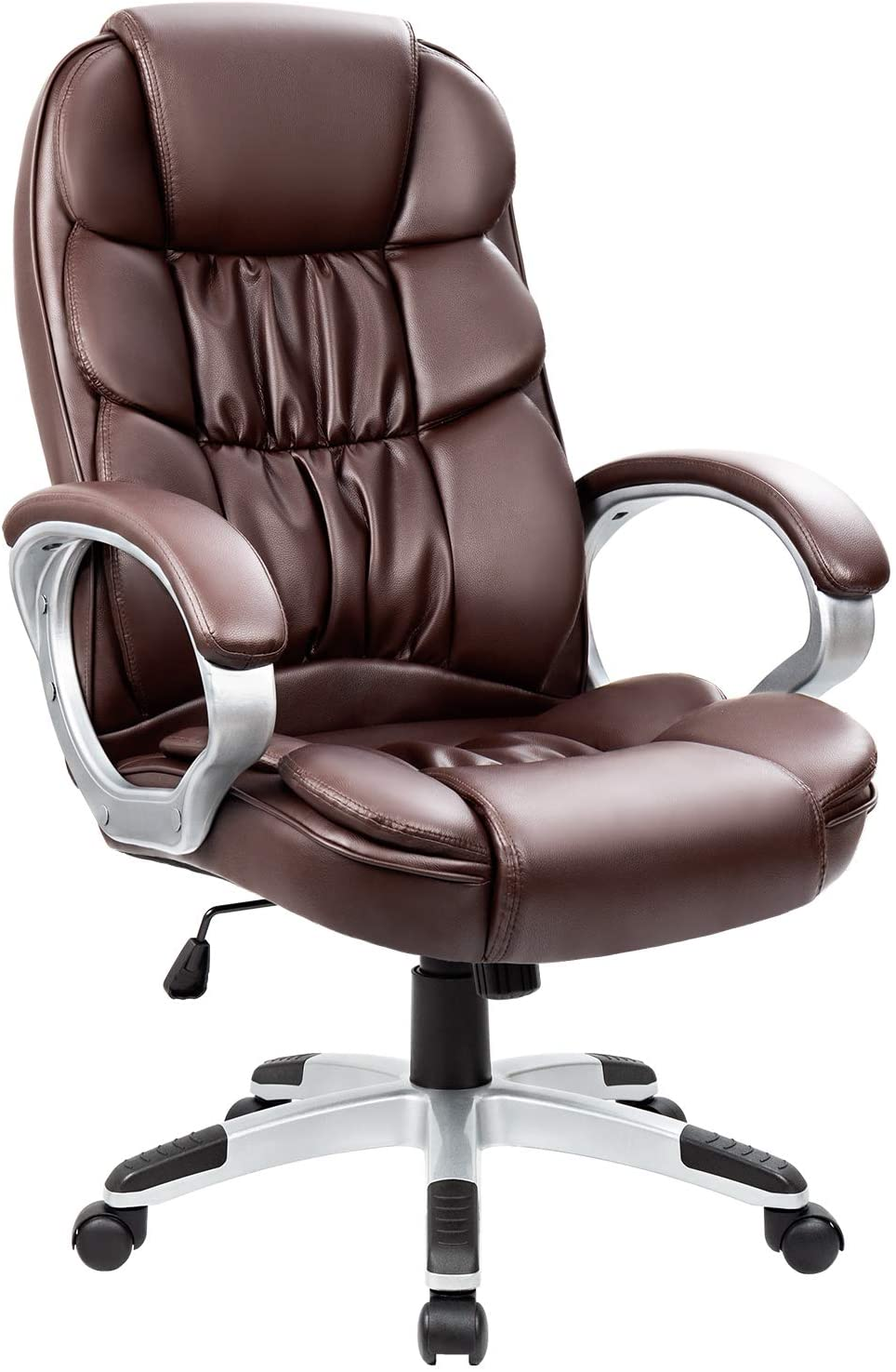 Homall Office Chair High Back Computer Chair Ergonomic Desk Chair, PU Leather Adjustable Height Modern Executive Swivel Task Chair with Padded Armrests and Lumbar Support (Brown)