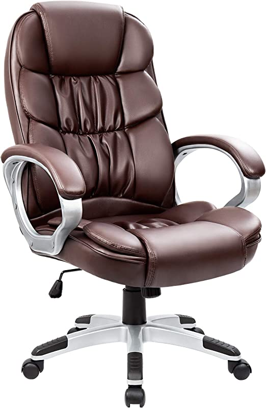 Amazon Com Homall Office Chair High Back Computer Chair Ergonomic Desk Chair Pu Leather Adjustable Height Modern Executive Swivel Task Chair With Padded Armrests And Lumbar Support Brown Home Kitchen