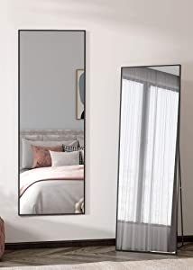 "Standing/Hanging Floor Mirror - Dressing Full Length Mirror, Large Full Body Mirror Wall Floor Length Mirror for Bedroom Room ,Living Room ,Dressing Room 65""x22"" (Black)"