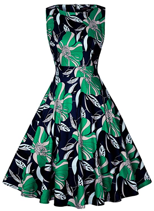 IHOT Vintage Tea Dress 1950's Floral Spring Garden Retro Swing Prom Party Cocktail Dress for Women (XL, Beige Green Floral)