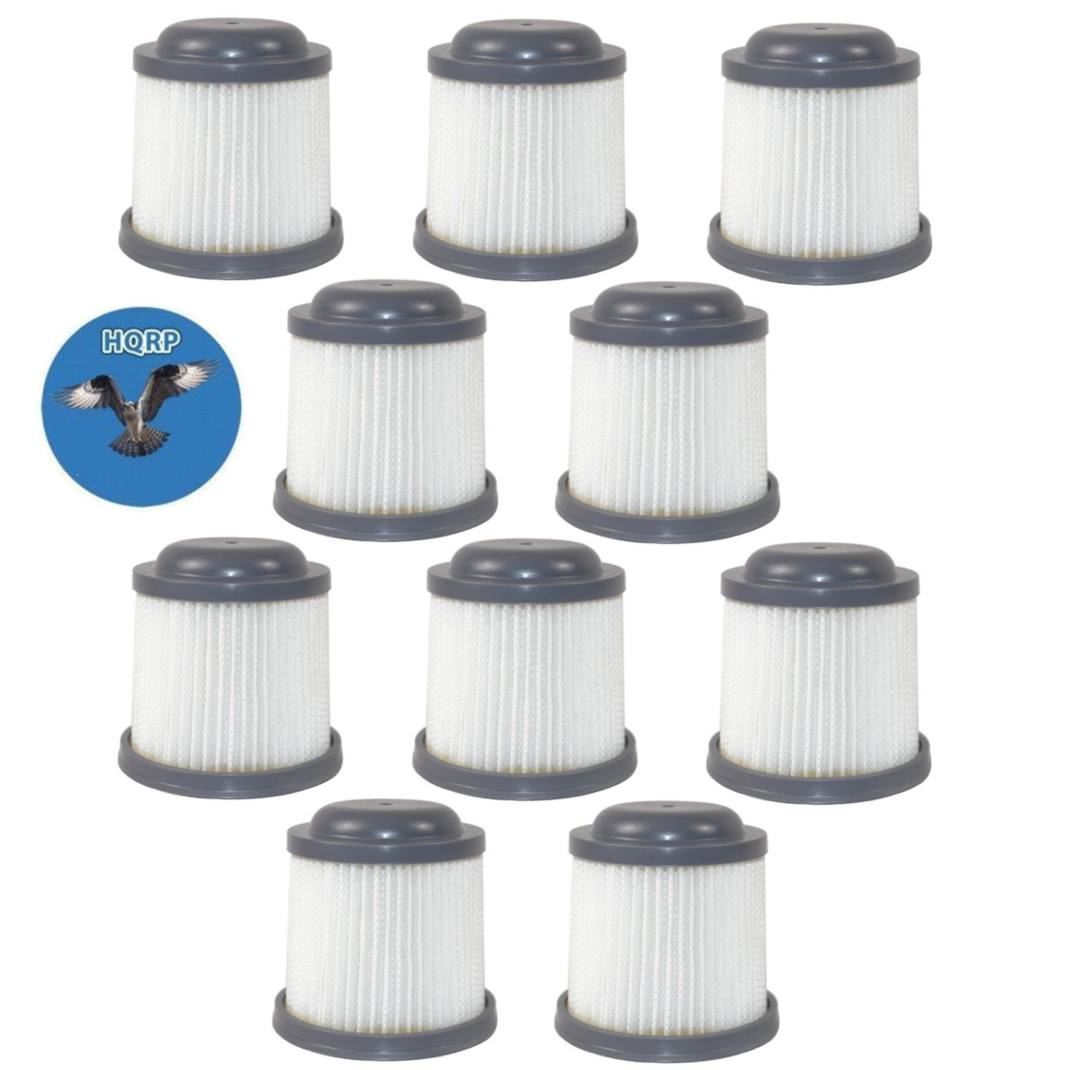HQRP Washable Filter (10-Pack) for Black & Decker PVF110 90552433 90552433-01 PVF110R Replacement fits B&D Pivot Hand Vac Vacuums Coaster