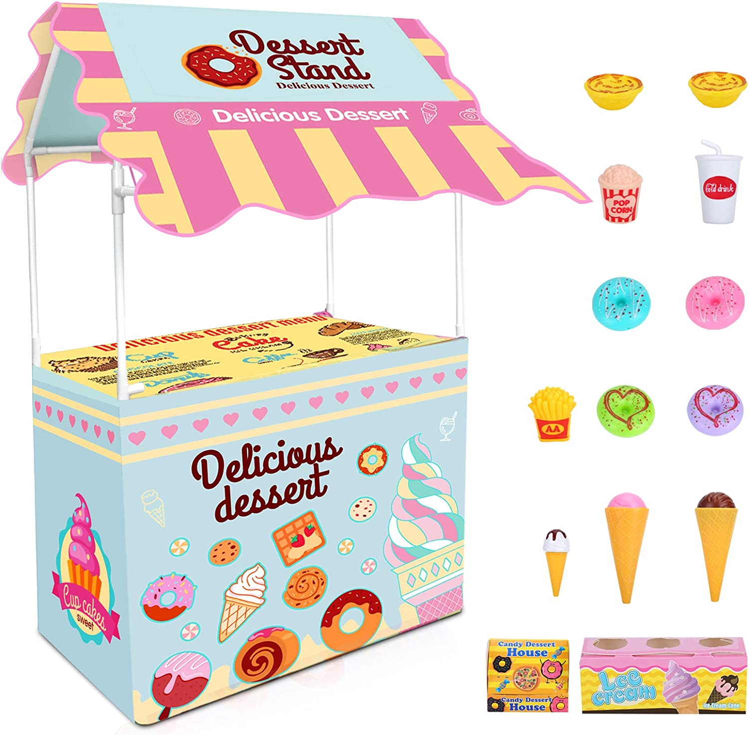 ISKYDRAW Ice Cream Cart - Kids Ice Cream Stand Shop Playset Toy Role Play Educational Colorful Pretend Play Food Business Cart Playstand Indoor Outside Playhouse Toy Present for Girls, Kids Ages 3+
