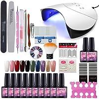 COSCELIA Gel Nail Starter Kit 10 Colors Gels 36W Nail Lamp Dryer UV Soak Off Topcoat Basecoat Nail Art Tool Nail Salon Set Manicure(G10A)