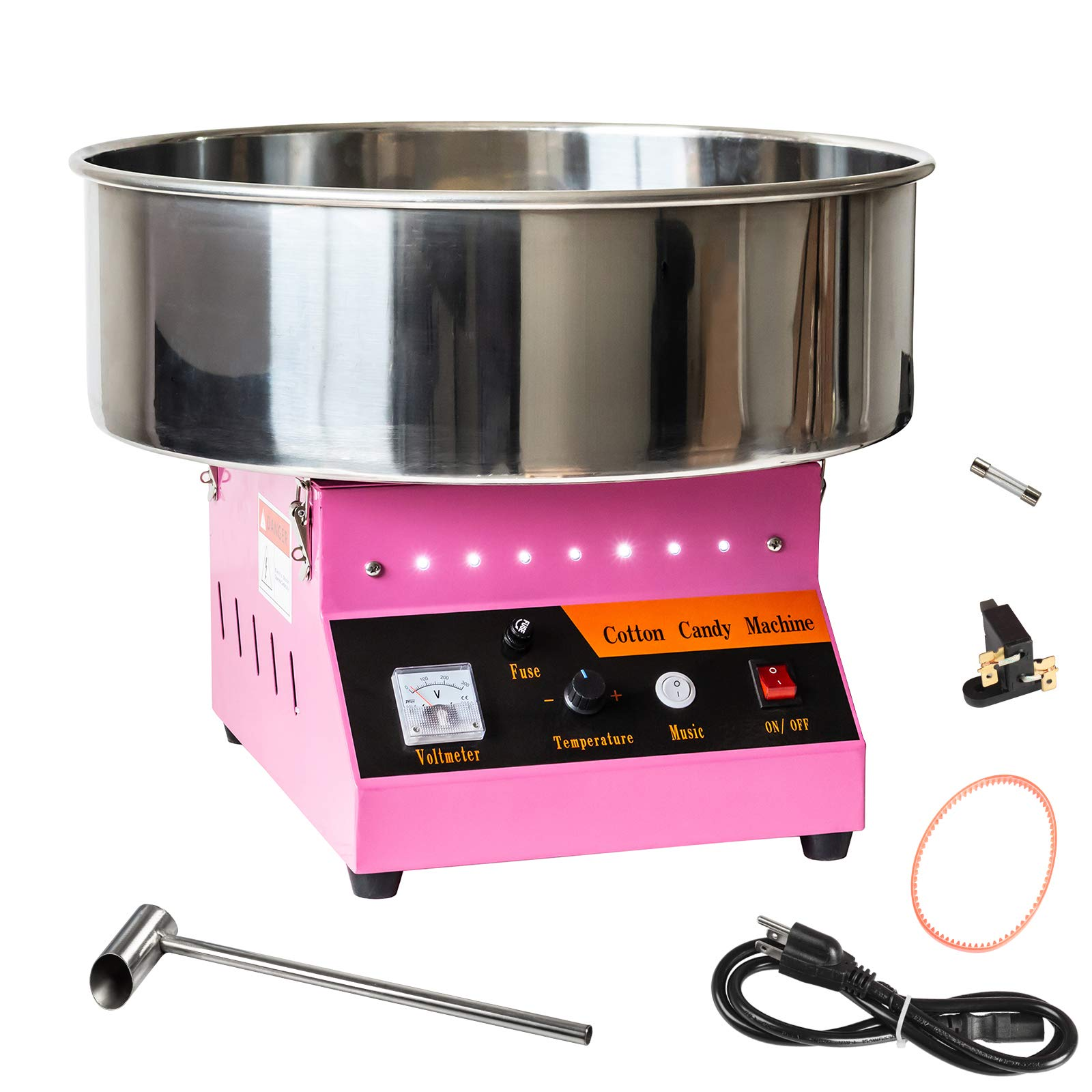 AJO Electric Commercial Quality Cotton Candy Machine and Candy Floss Maker (Pink)