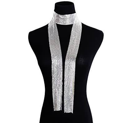 Amazon Naimo Womens Shiny Metallic Sequin Choker Collar