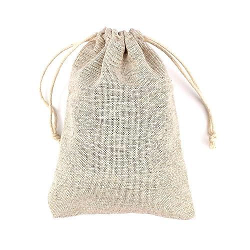 RUBY- 50 Bolsa de Lino, bolsitas de Tela, Saco arpillera, Bolsas para el Bricolaje, artesanales, para popurrí, reuniones, Bodas, Son fáciles de Cerrar ...
