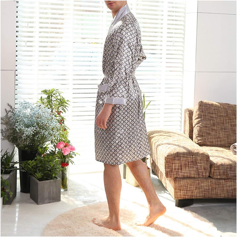 Mens Summer Thin Silk Plus Size Robe Home Clothing Silky Long Bathrobe Male Brand Sleep Robe Pajamas Silver Gray