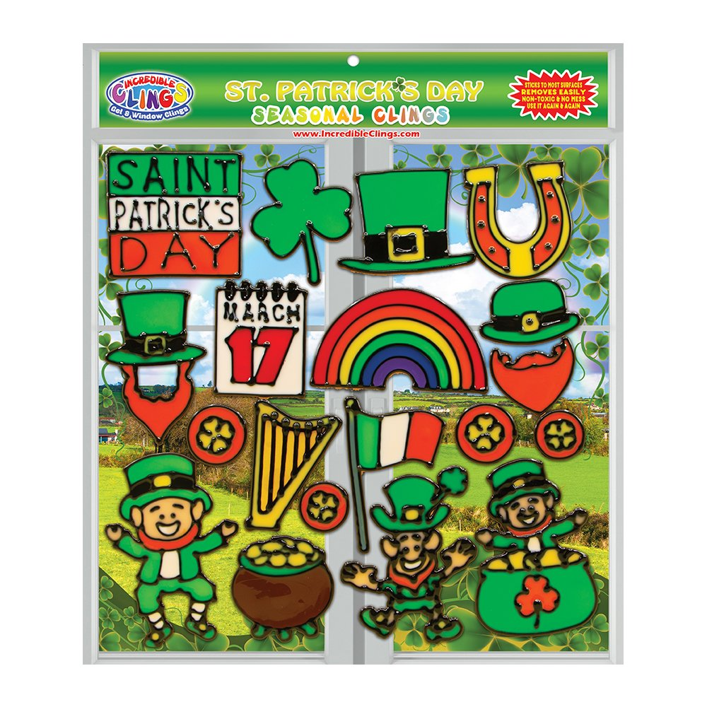 Saint Patrick's Day Holiday Gel Clings - Flexible Window Clings for Kids and Adults - Reusable and Removable Irish Gel Decals - Leprechaun, Shamrock, Clovers and More!