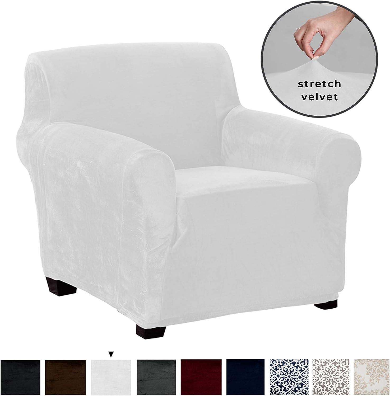 Great Bay Home Velvet Plush Stretch Arm Chair Slipcover. Velvet Chair Furniture Protector, Soft Anti-Slip, High Stretch (Chair, White)